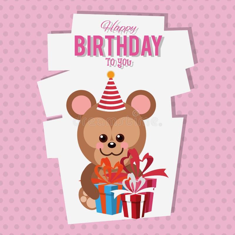 Cartão dos desenhos animados do macaco do feliz aniversario ilustração royalty free