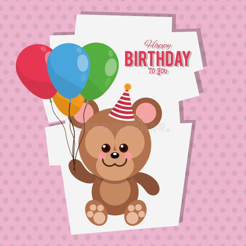 Cartão dos desenhos animados do macaco do feliz aniversario ilustração stock