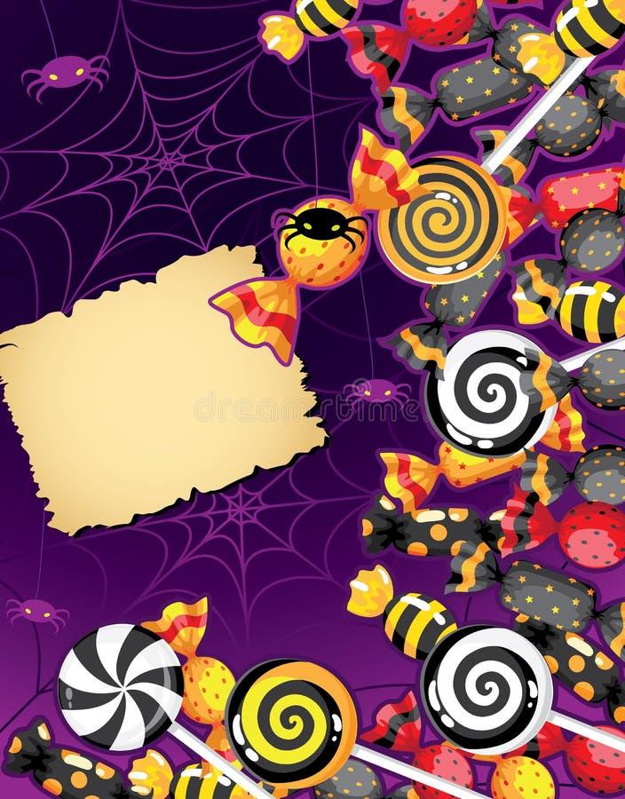 Cartão dos doces de Halloween ilustração royalty free