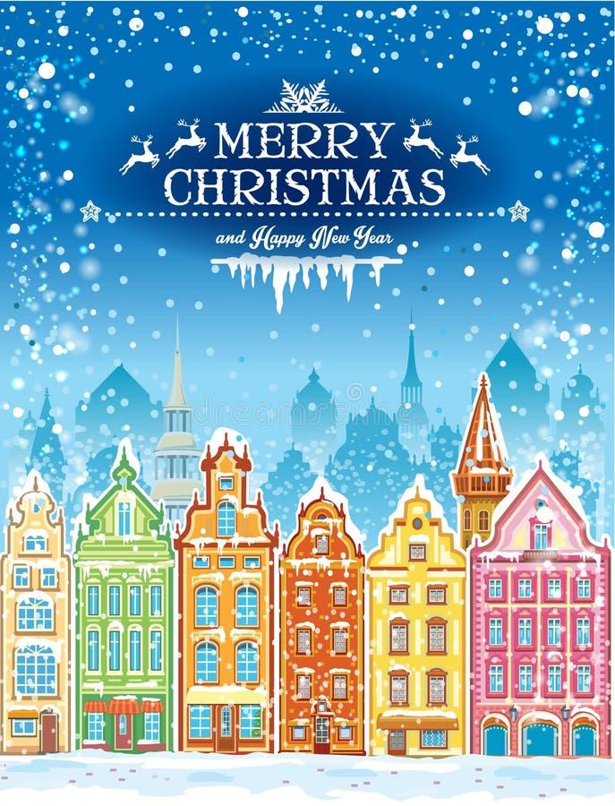 Cartão dos feriados do Natal e do ano novo com cidade nevado ilustração royalty free