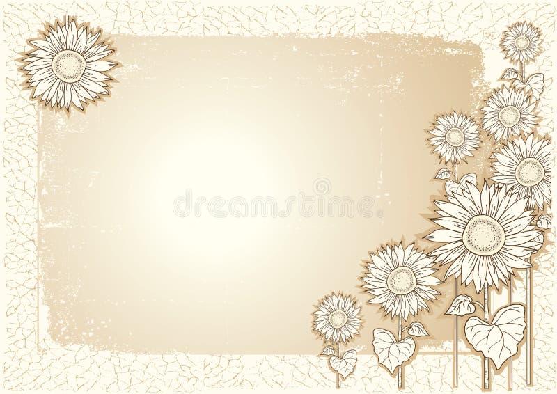 Cartão dos girassóis ilustração royalty free
