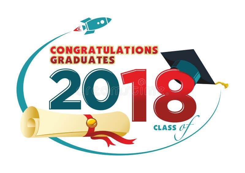 Cartão dos graduados das felicitações ilustração royalty free