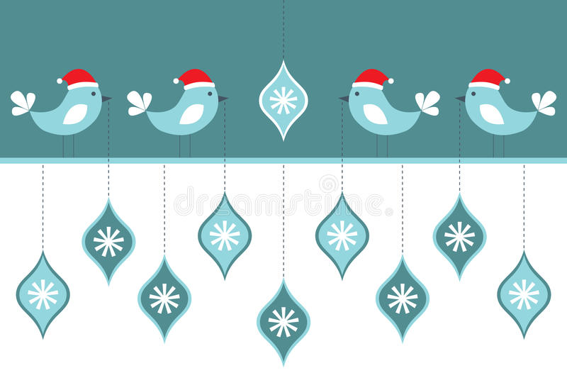 Cartão dos pássaros do Natal ilustração stock