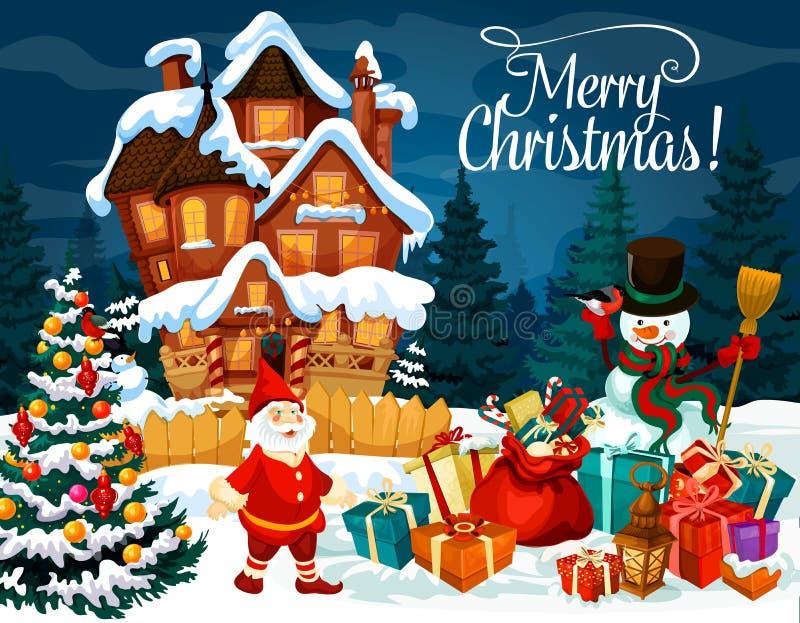 Cartão dos presentes, do boneco de neve e do anão do Natal ilustração stock