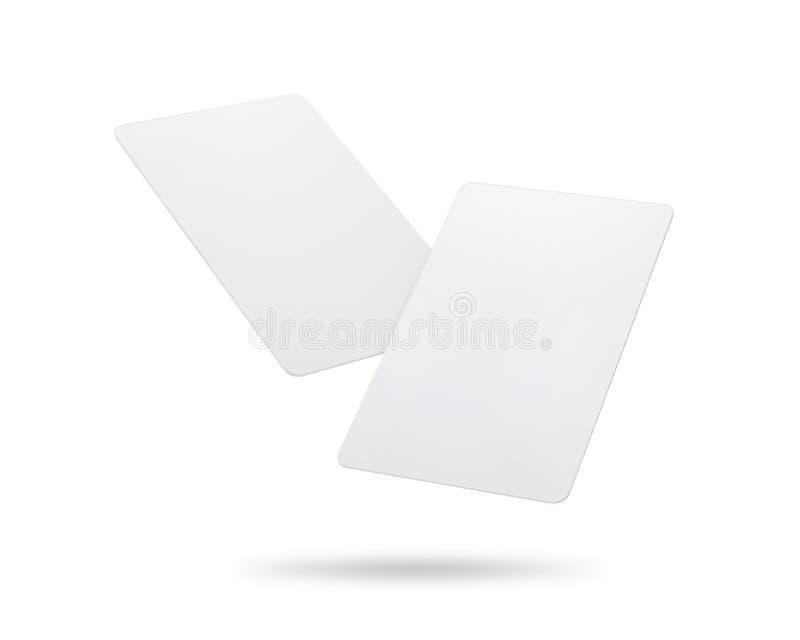 Cart?o dos trajetos de grampeamento isolado no fundo branco Molde do cart?o pl?stico vazio para seu projeto ilustração stock