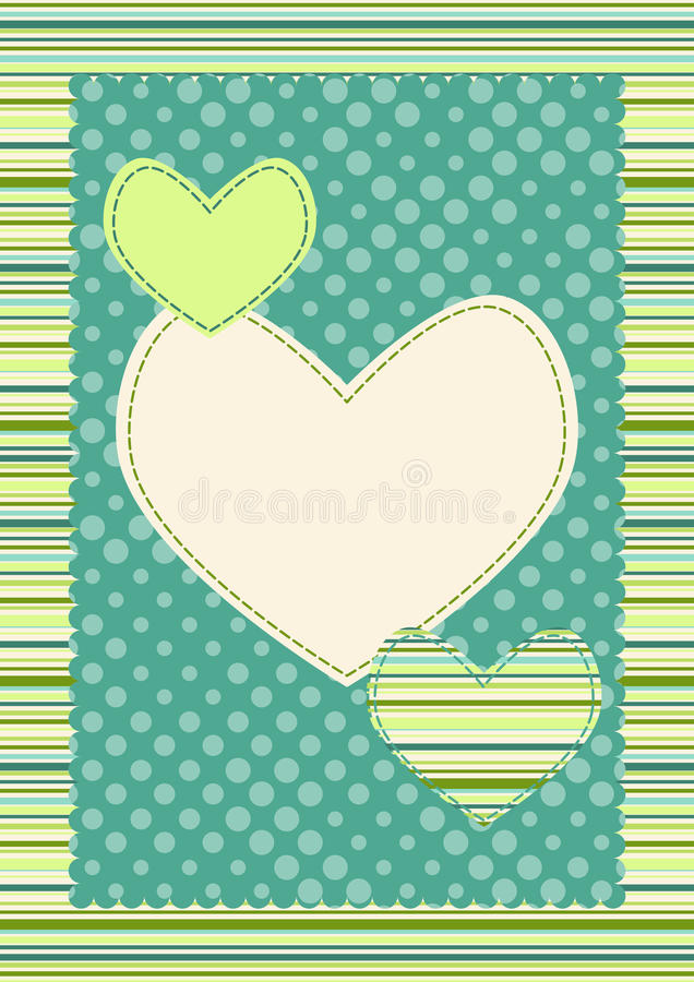 Cartão dos Valentim das listras e dos corações do às bolinhas ilustração stock