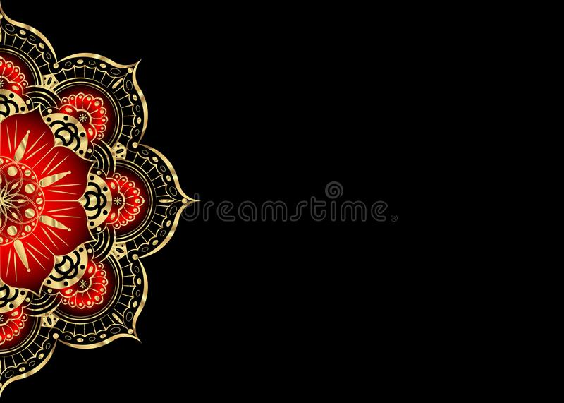 Cartão dourado do vintage em um fundo preto Molde luxuoso do ornamento Grande para o convite, inseto, menu, folheto, postcar ilustração stock