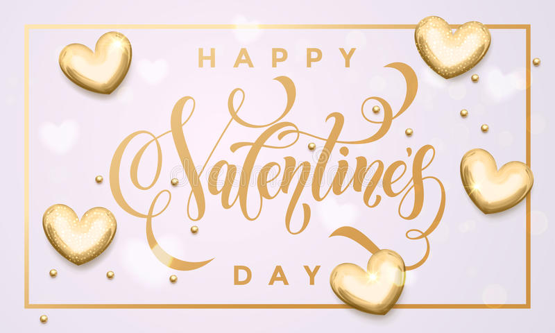 Cartão dourado dos corações do dia de são valentim feliz ilustração do vetor