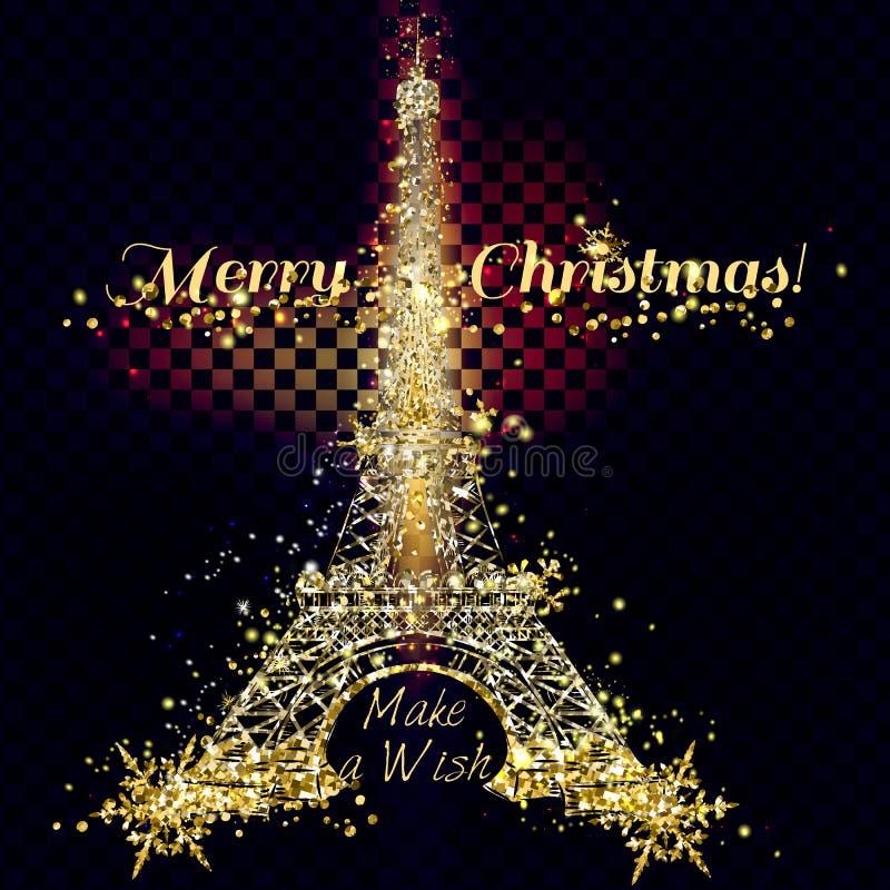 Cartão dourado e de prata do vetor do brilho das partículas com torre de Eifel ilustração royalty free