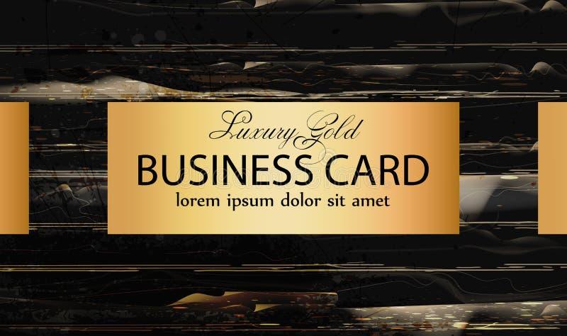 Cartão dourado no fundo de mármore preto Cartaz elegante com ilustrações de pedra das texturas do teste padrão ilustração stock