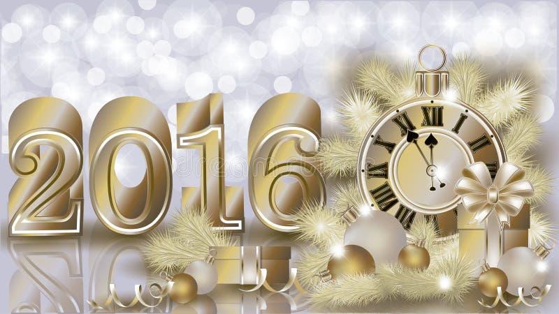 Cartão dourado novo feliz de 2016 anos ilustração do vetor