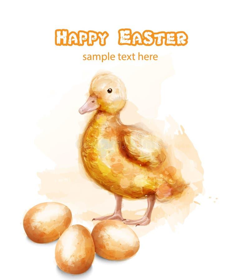 Cartão ducky da aquarela do vetor da Páscoa Cumprimentos felizes da Páscoa com botão e ovos ilustração royalty free