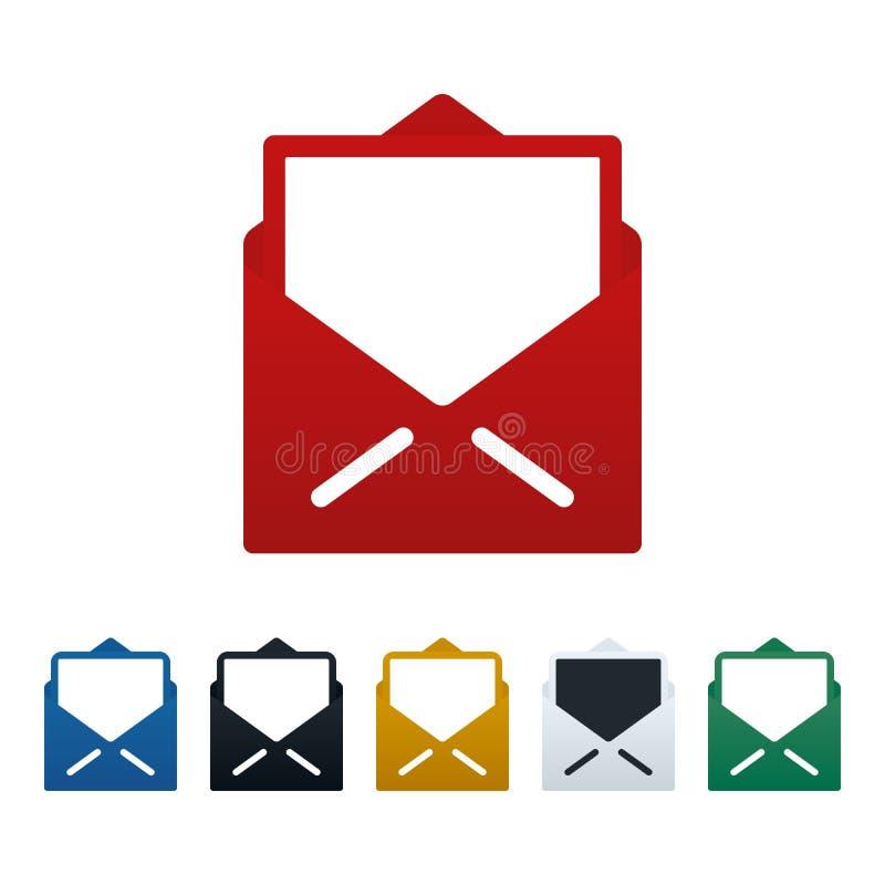 Cartão e ícones abertos dos envelopes ilustração do vetor