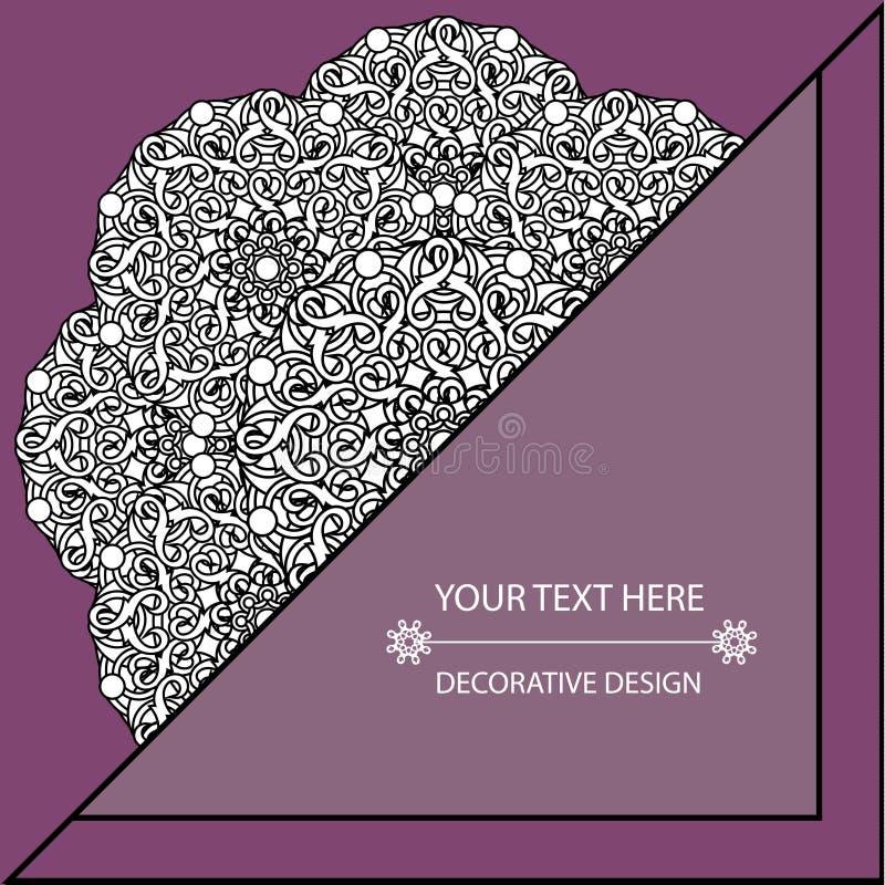 Cartão e convite do molde com testes padrões circulares das mandalas Styl incorporado ilustração do vetor
