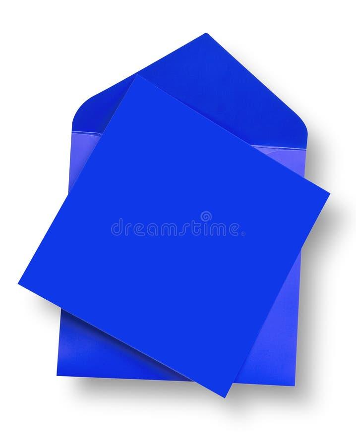 Cartão e envelope azuis. fotos de stock royalty free
