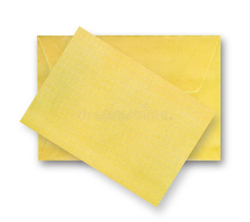 Cartão e envelope do ouro. fotos de stock