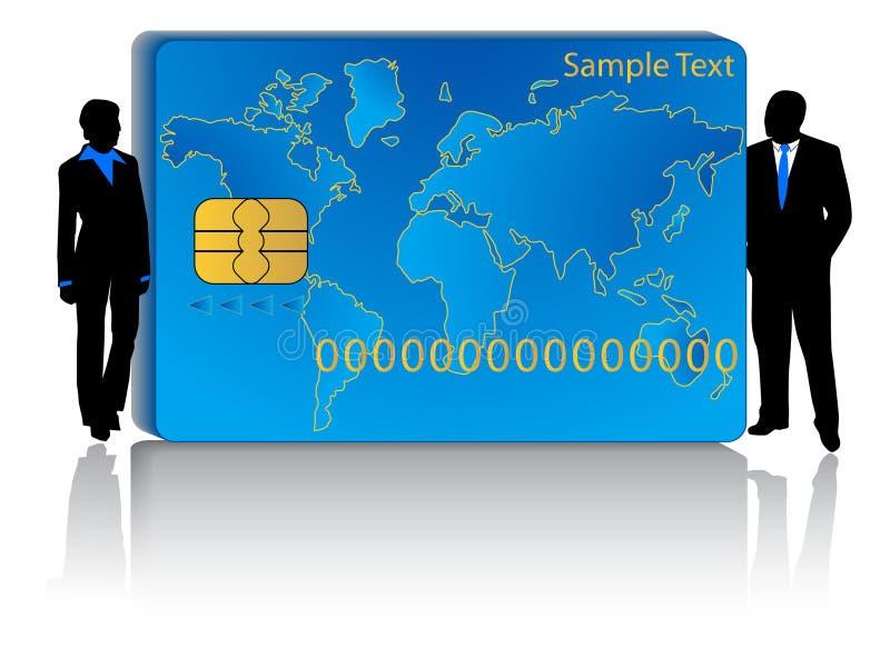 Cartão e executivos de operação bancária ilustração royalty free