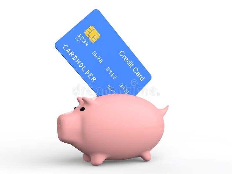 cartão e mealheiro de crédito 3d ilustração royalty free