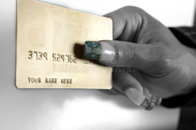 Cartão e polegar verde imagem de stock royalty free
