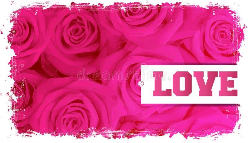 Cartão e rosas ilustração do vetor
