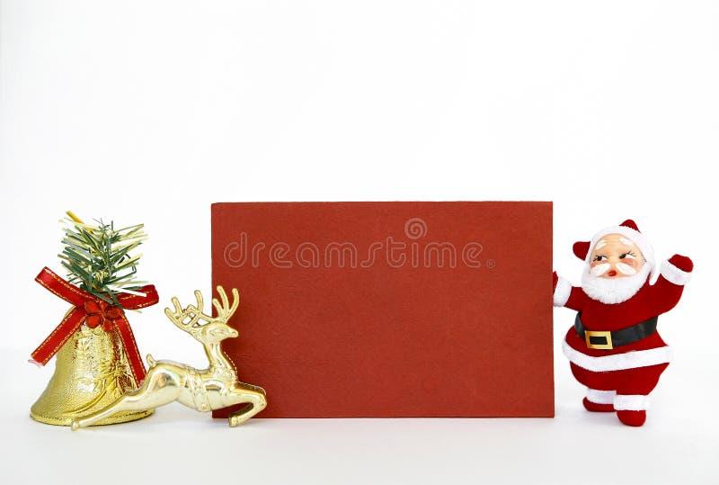 Cartão e Santa Claus de Natal fotos de stock royalty free