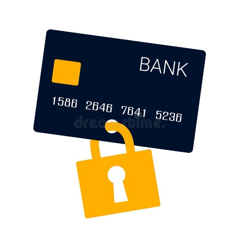 Cartão e segurança de crédito ilustração royalty free
