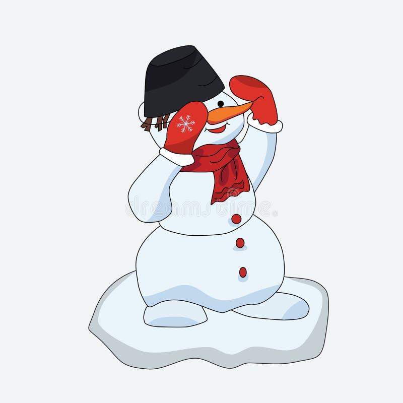 Cartão editável de cumprimento do formato do vetor do Natal do boneco de neve ilustração do vetor
