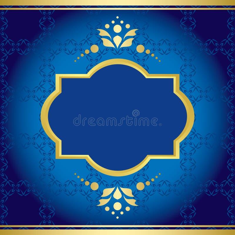 Cartão elegante azul com decoração dourada ilustração stock