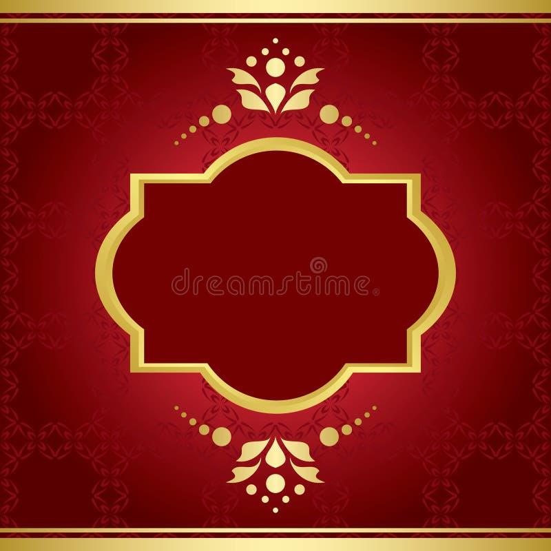 Cartão elegante com decoração dourada ilustração stock