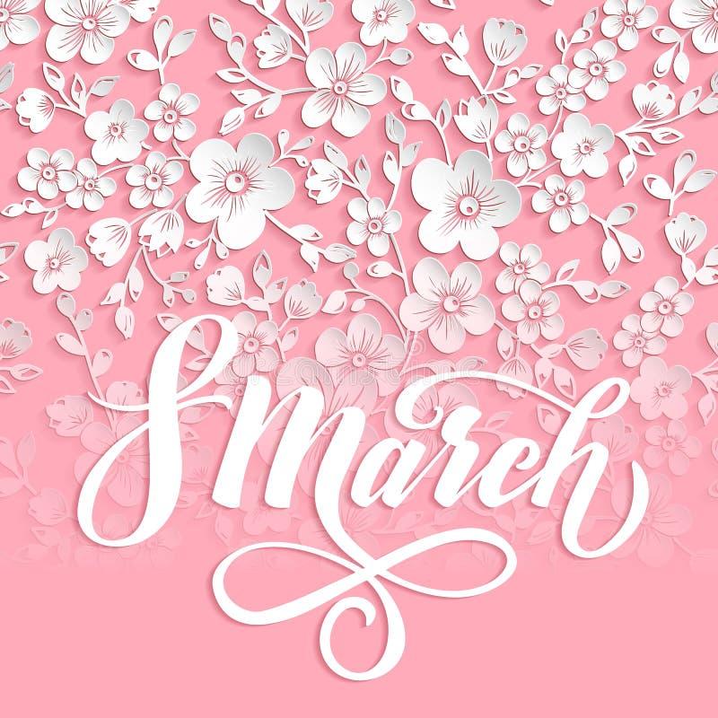 Cartão elegante 8 de março o dia das mulheres internacionais Vector o cartão com elemento bonito da flor de sakura e elegante ilustração do vetor
