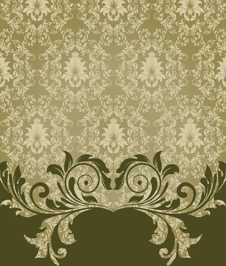 Cartão elegante do convite do damasco ilustração do vetor