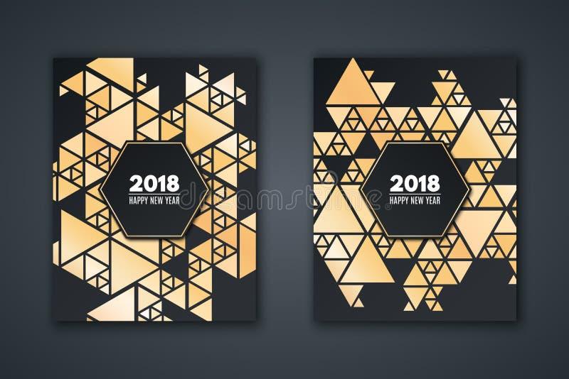 Cartão elegante do convite pelo ano novo Modele o mosaico feito de triângulos dourados em um fundo preto Bandeira com texto Geome ilustração royalty free