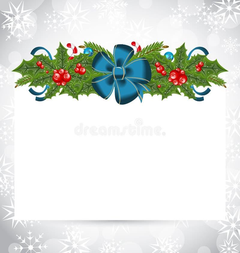 Cartão elegante do Natal com decoração do feriado ilustração stock