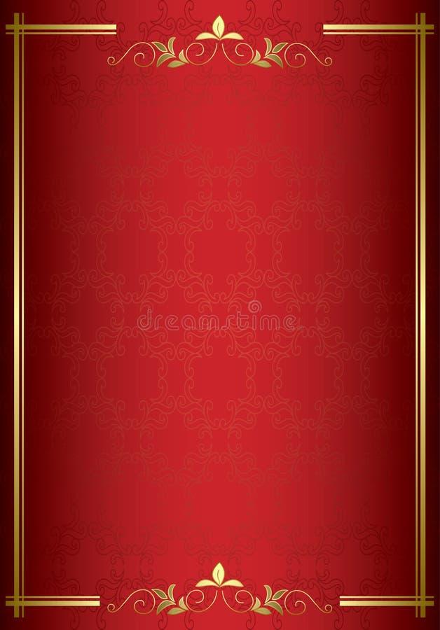 Cartão elegante vermelho com decorações do ouro ilustração do vetor