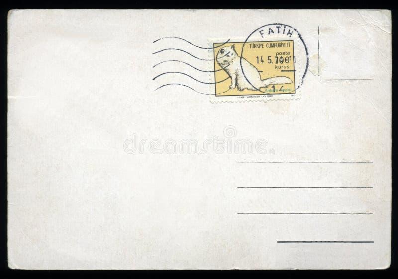 Cartão em branco com selo fotografia de stock royalty free