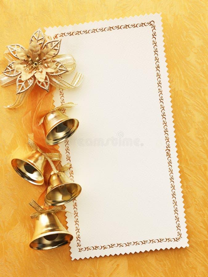Cartão em branco do Natal do ouro imagens de stock royalty free