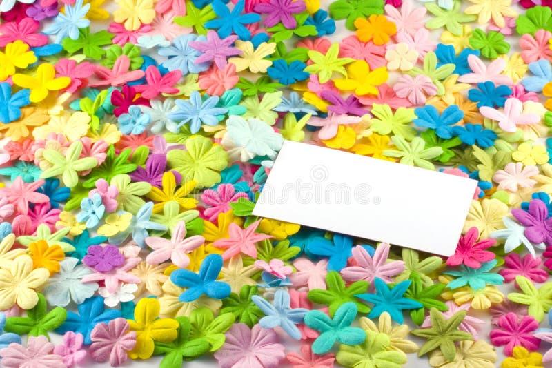 Cartão em flores imagens de stock