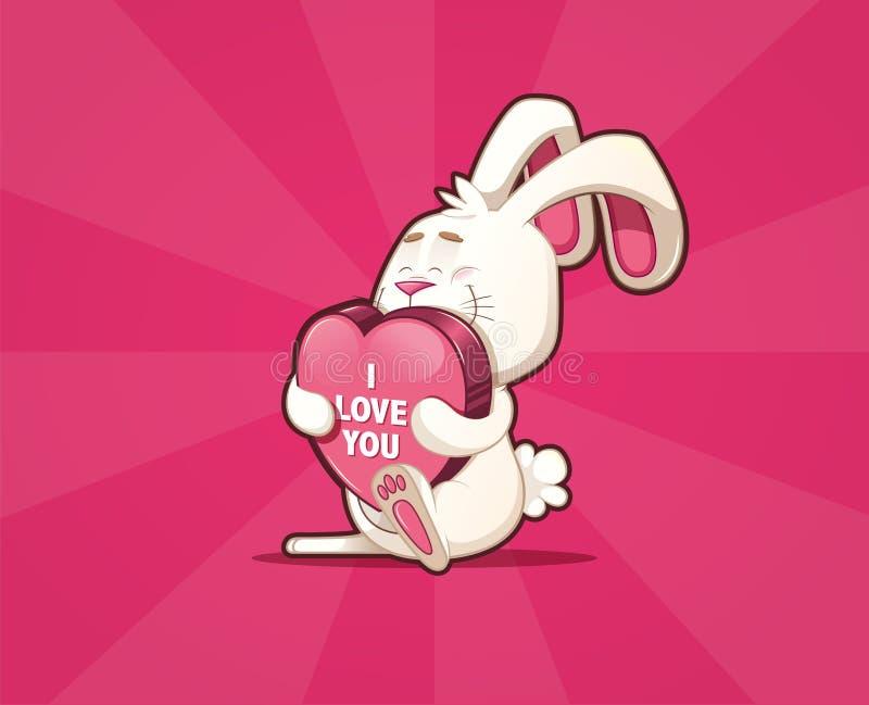 Cartão Enamored do coelho que leva um coração grande com texto ilustração do vetor