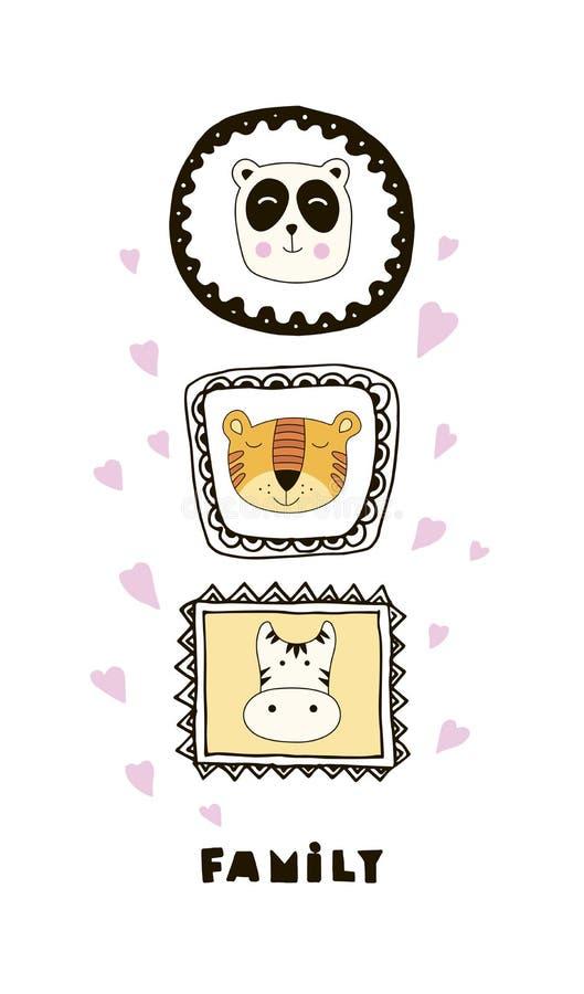 Cartão engraçado com as caras bonitos dos animais e a família da rotulação! ilustração stock