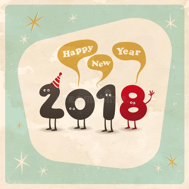 Cartão engraçado do estilo do vintage - ano novo feliz 2018 ilustração stock