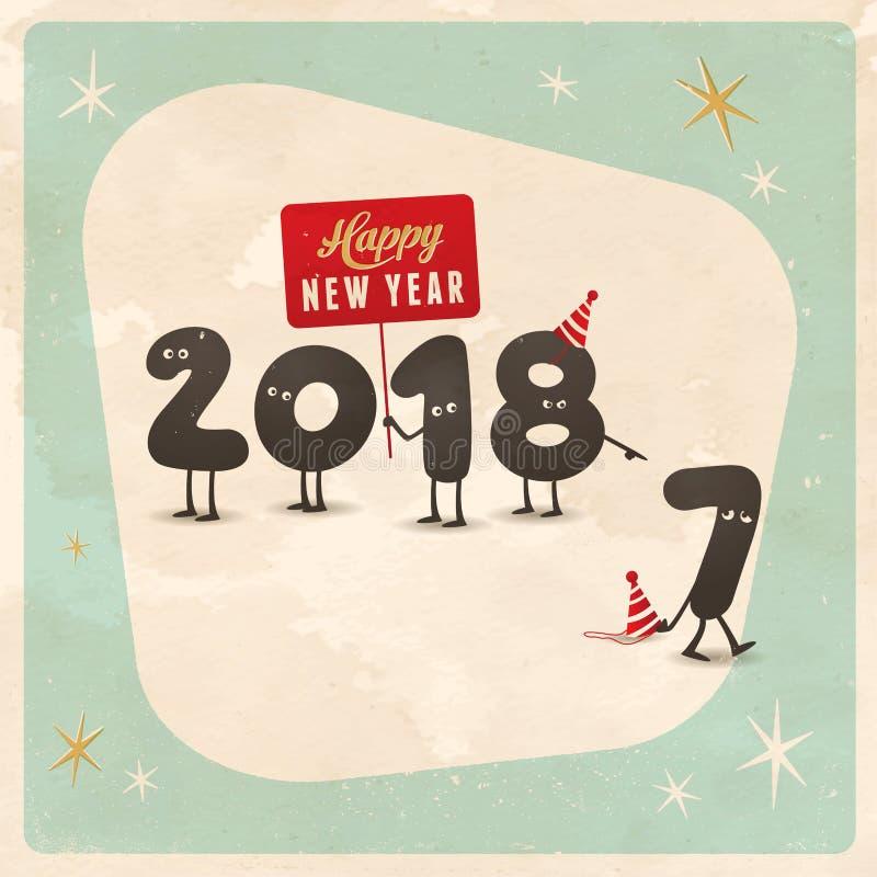 Cartão engraçado do estilo do vintage - ano novo feliz 2018 ilustração royalty free