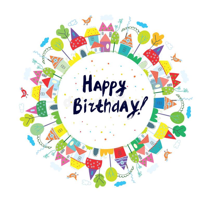 Cartão engraçado do feliz aniversario para crianças com cidade ilustração royalty free