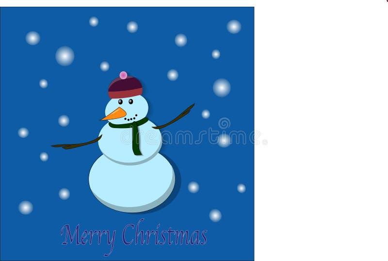 Cartão engraçado do Feliz Natal do boneco de neve ilustração do vetor