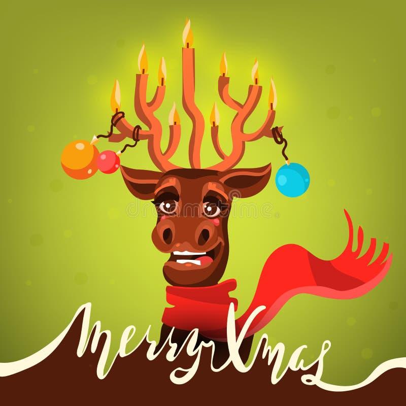 Cartão engraçado do Feliz Natal Cervo dos desenhos animados, o bonito e o feliz de Santa do ` s do Natal da rena, chifre com vela ilustração royalty free