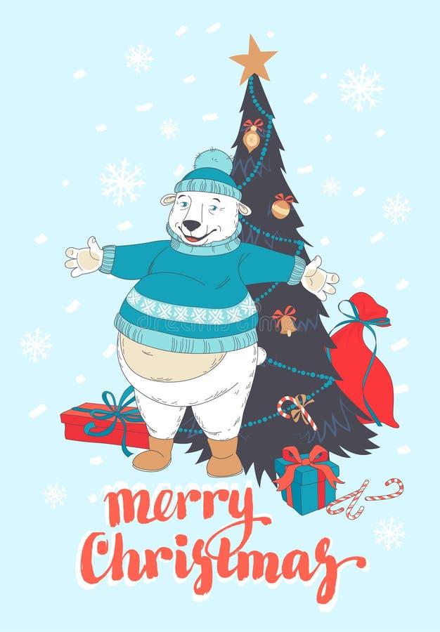 Cartão engraçado do Feliz Natal com o urso polar que veste a camiseta bonito ilustração do vetor