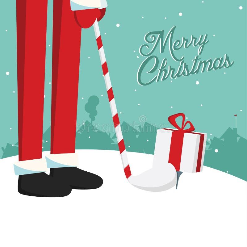 Cartão engraçado do golfe de Santa do Natal ilustração royalty free