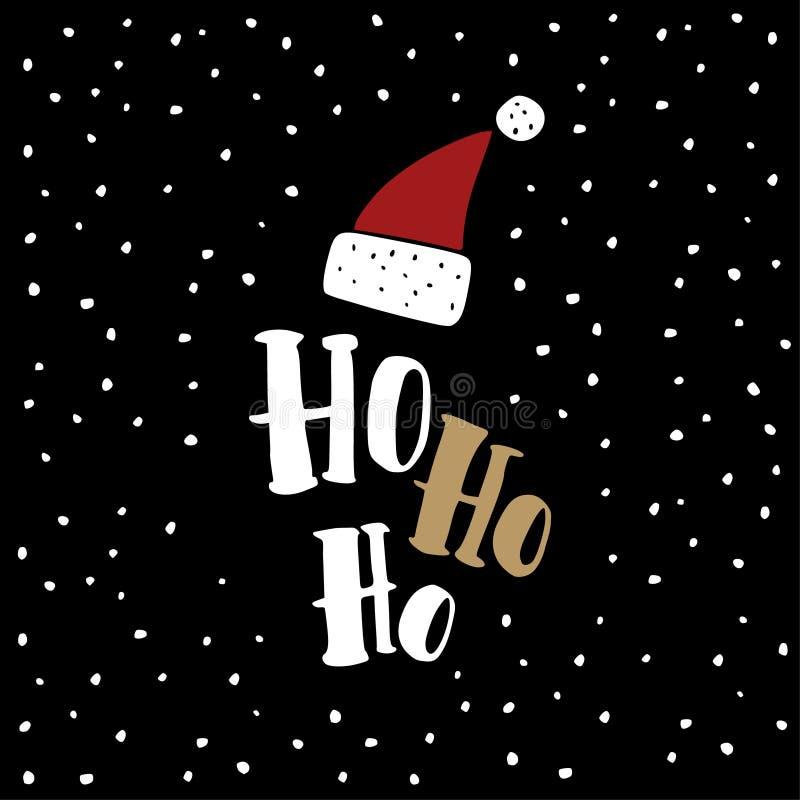Cartão engraçado do Natal, convite Entregue a Santa Claus tirada o chapéu vermelho com Ho ho texto Fundo preto com neve de queda ilustração do vetor