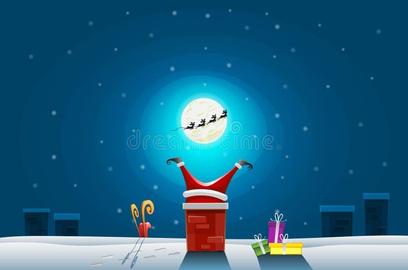 Cartão engraçado - o Feliz Natal e o ano novo feliz, Papai Noel colaram na chaminé no telhado ilustração stock