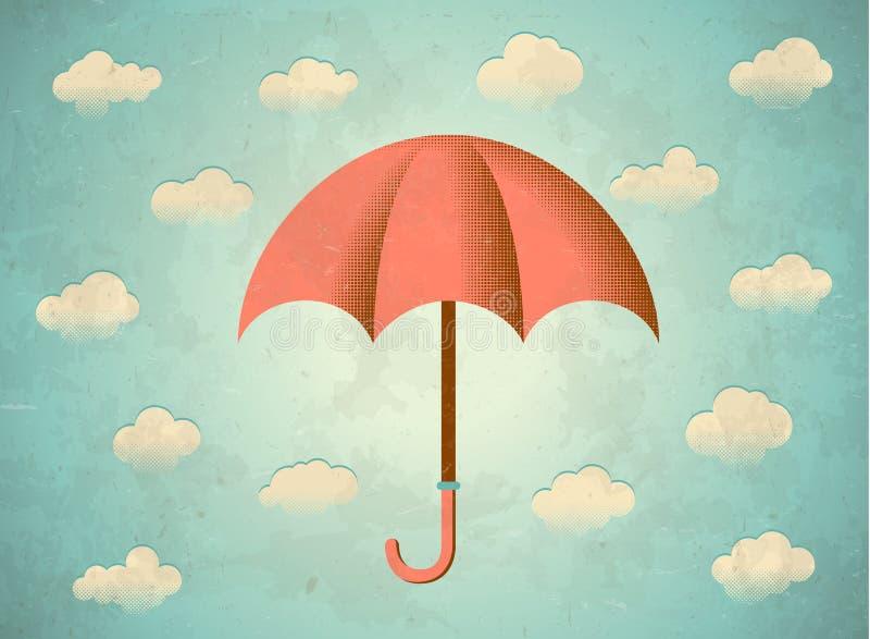 Cartão envelhecido com guarda-chuva ilustração do vetor