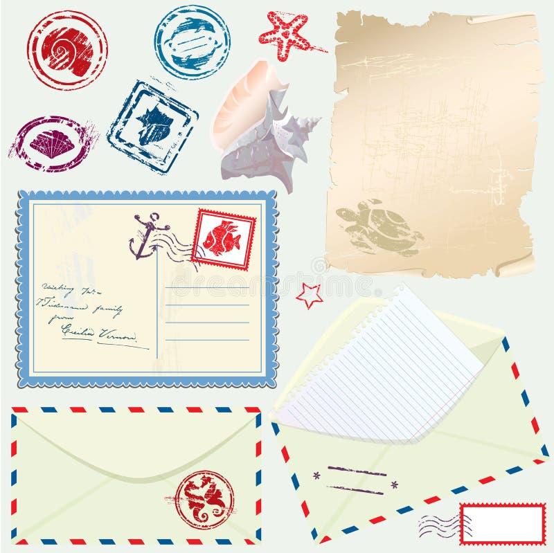 Cartão, envelope e papel com náutico retro ilustração do vetor